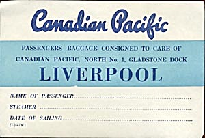 Vintage Luggage Label: Canadian Pacific Liverpool