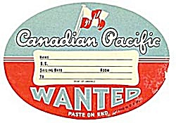 Vintage Luggage Label: Canadian Pacific