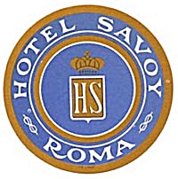 Vintage Luggage Label: Hotel Savoy Roma