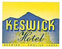 Vintage Luggage Label: Hotel Keswick English Lakes