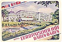 Vintage Luggage Labels: Hotel Europaischer Hof Baden (Image1)