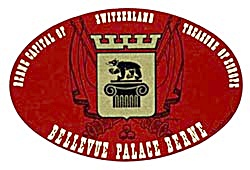 Vintage Luggage Label:Bellevue Palace Berne Switzerland (Image1)