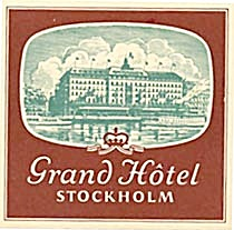 Vintage Luggage Label: Grand Hotel Stockholm (Image1)