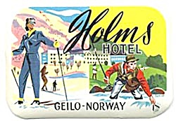 Vintage Luggage Label:Hotel Holms Geilo Norway (Image1)