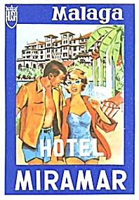Vintage Luggage Label:Hotel Miramar Malaga (Image1)