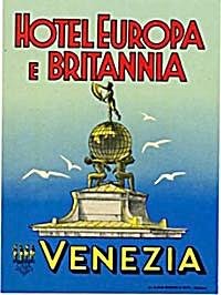 Vintage Luggage Label: Hotel Europa E Britannia Venezia (Image1)