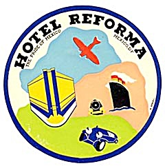 Vintage Luggage Labels: Hotel Reforma Mexico (Image1)