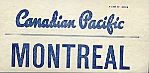 Vintage Luggage Label: Canadian Pacific Montreal (Image1)