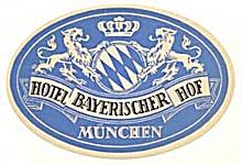 Vintage Luggage Labels: Hotel Bayerischier Hof Munchen (Image1)