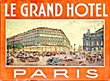 Vintage Luggage Label:Le Grand Hotel Paris (Image1)