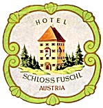 Vintage Luggage Label:Hotel Schloss Fuschl Austria (Image1)