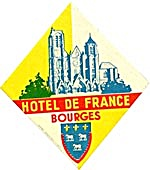Vintage Luggage Label:Hotel De France Bourges (Image1)