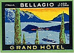 Vintage Luggage Label: Grand Hotel Bellagio Italia   (Image1)