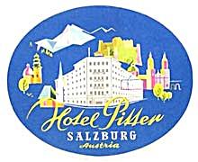 Vintage Luggage Label: Hotel Pitter Salzburg Austria (Image1)