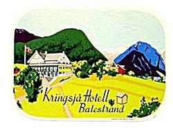 Vintage Luggage Label: Kringsja Hotell Balestrand (Image1)