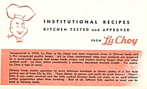 Institutional Recipes From La Choy