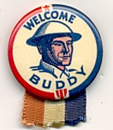 Vintage Welcome Buddy Celluloid Pins Set Of 2