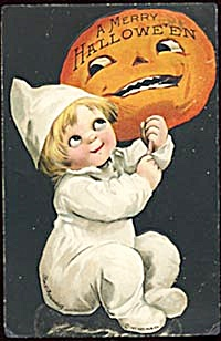 Clapsaddle Halloween Postcard Boy & Jack O Lantern (Image1)
