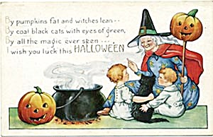 Halloween Postcard Witch, Jack-O-Lantern, Children, (Image1)