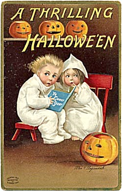 Clapsaddle Halloween Postcard Scared Boy & Girl Book (Image1)