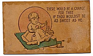 Tot & Doll Leather Postcard with Hand-colored Accents (Image1)