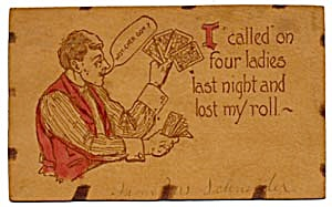 Man Playing Poker Leather Postcard  Colored Accents (Image1)
