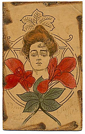 Victorian Lady Leather Postcard with Colored Accents (Image1)