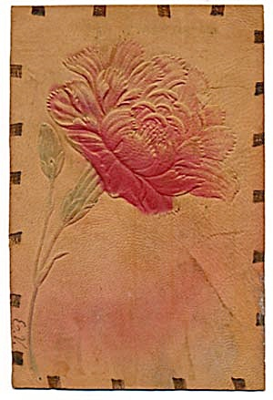 Red Poppy Leather Postcard with Hand-colored Accents (Image1)