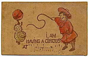 Circus Poodle Leather Postcard with Hand-colored Accent (Image1)