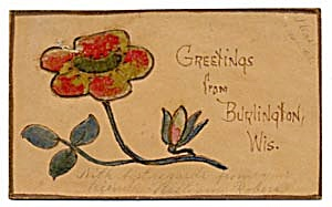 Vintage Leather Postcard with Poppy Velvet Appliqué (Image1)
