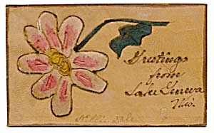 Vintage Leather Postcard with Aster Velvet Appliqu� (Image1)