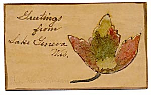 Vintage Leather Postcard with Fall Leaf Velvet Appliqué (Image1)