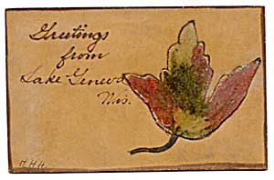 Vintage Leather Postcard with Leaf Velvet Appliqu� (Image1)