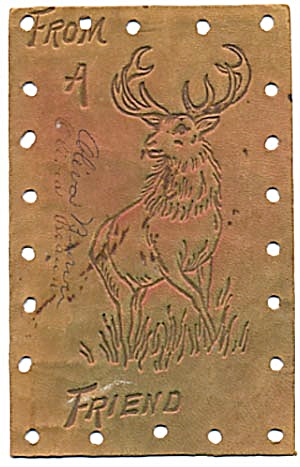 Vintage Stag Leather Postcard with Hand-colored Accents (Image1)