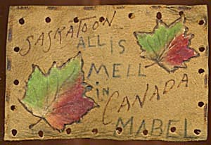 Vintage Leather Postcard with 2 Leaves Velvet Appliqu� (Image1)