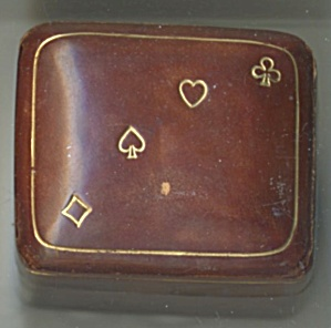 Vintage Miniature Playing Cards Set In Leather Box
