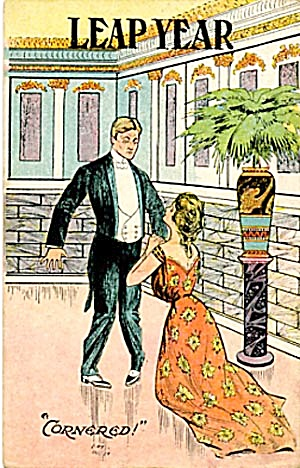 Vintage Leap Year Postcard Man & Lady