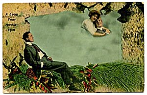 Vintage Leap Year Postcard 2 Men & Woman