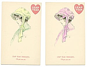 Vintage Leap Year Postcard Lady With Hat Set Of 2