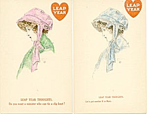 Vintage 1911 Leap Year Postcards Set Of 2