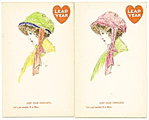 Vintage Leap Year Postcard Set Of 2