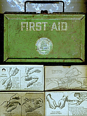 Original Green Metal First Aid Kit W/ Items