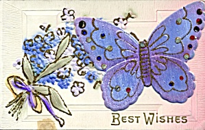 Periwinkle Embroidered Rhinestone Butterfly Add-on