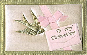 Vintage Valentine Swallow Add - On Postcard