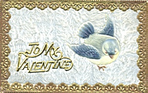 Vintage Valentine Bluebird Add - On Postcard