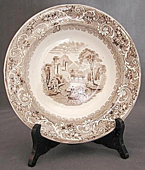 Antique Brown and White Transfer Ware Bowl (Image1)
