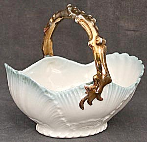 Antique Porcelain Seashell Basket