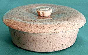 California Pottery Pink & Chocolate Round Covered Dish