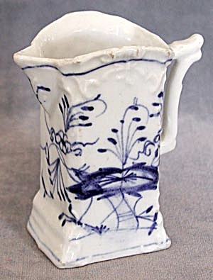 Antique Blue And White Flow Blue Type Cream Pitcher