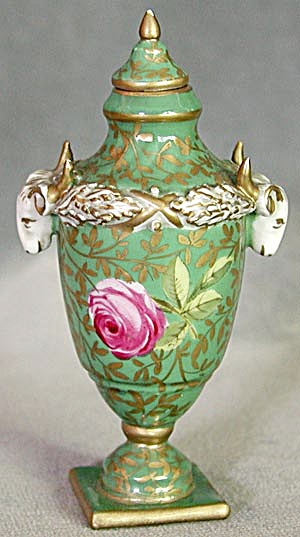 Antique Miniature Porcelain Urn with Ram's Head Handles (Image1)